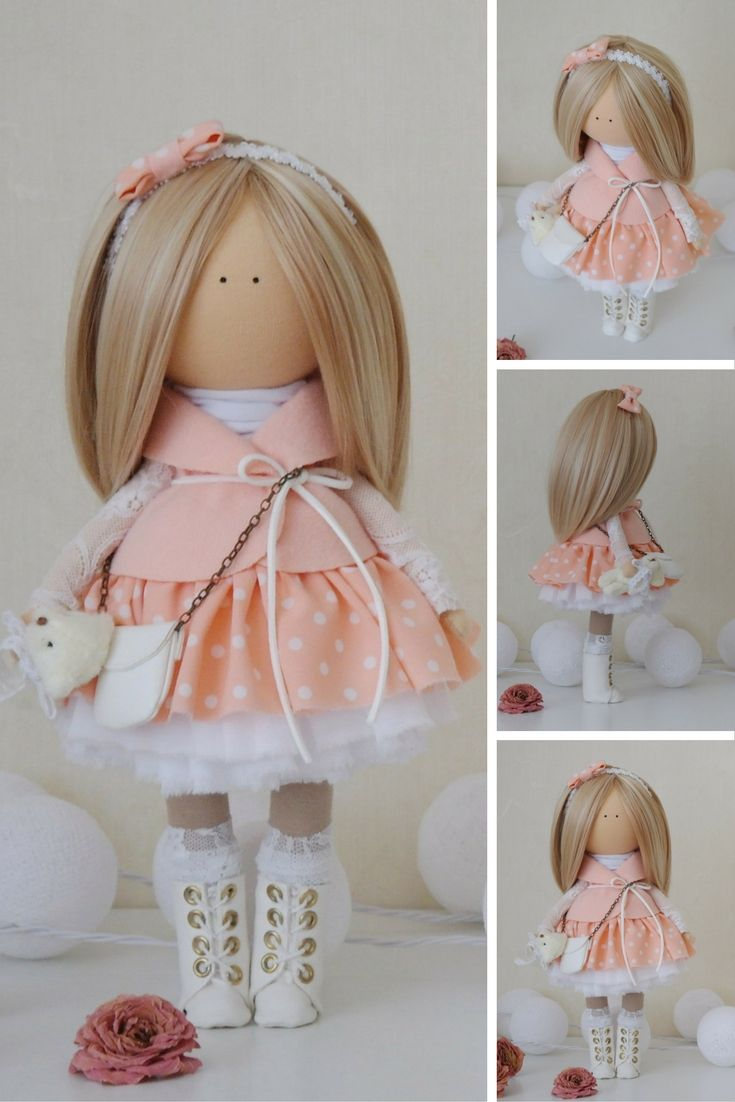 Angel doll Handmade doll Fabric doll Peach doll Tilda doll Decor doll Rag doll…