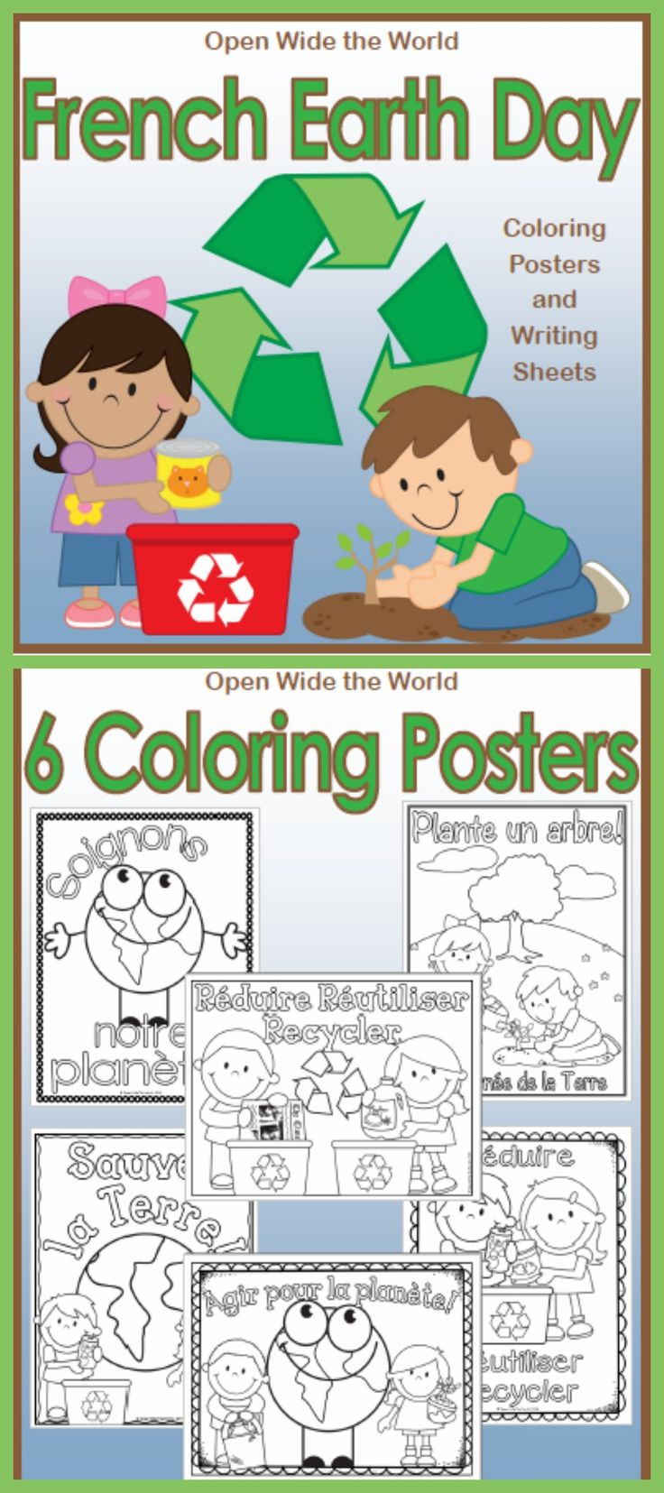 French Earth Day Coloring Posters & Writing Sheets - la journée de la Terre