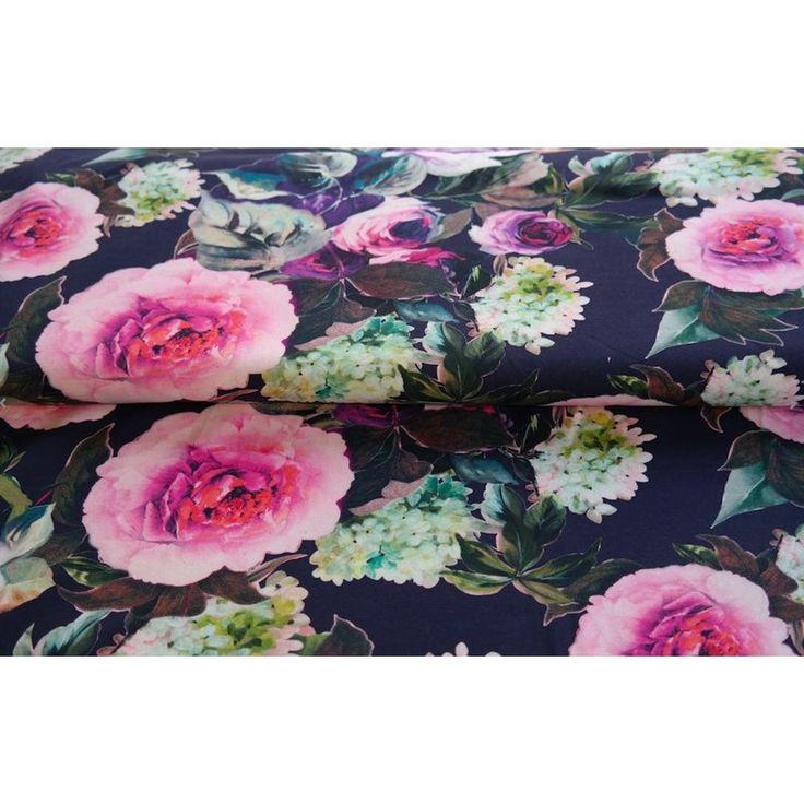 Bomuldsjersey - marine med smukke blomster på