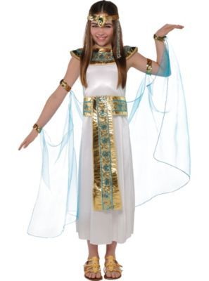 Rule like an Egyptian princess in this Cleopatra costume! Girls Shimmer Cleopatra Costume features a silky ivory dress a metallic gold and turquoise collar ...  sc 1 st  Pinterest & 13 best DisfraCes images on Pinterest | Children costumes Costume ...
