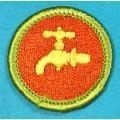 Scouting Memorabilia :: National BSA Issued Items :: Merit Badges :: Type H Fully Emb. Blue Plastic Back MB 1972 - 1975 :: Plumbing MB Blue Back - Boy Scout Store - Boy Scout Collectibles & Memorabilia & Gifts