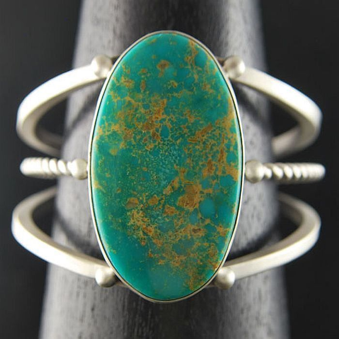 Navajo Sterling Silver Aqua-Blue Kingman Turquoise Cuff Bracelet s6.5 R&E Endito