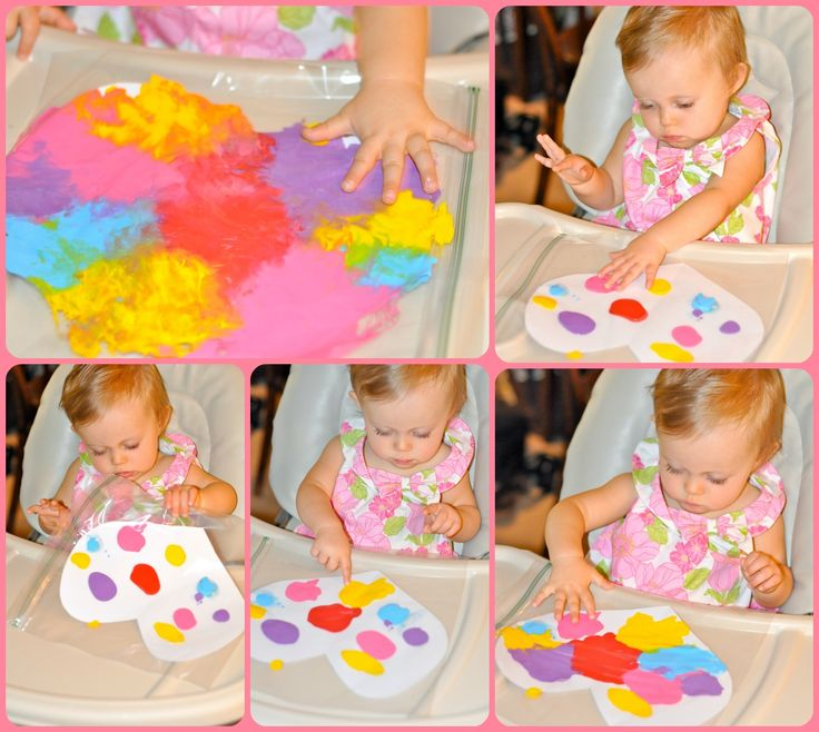 Paint inside ziplock bag.  Love this!  Could prepare ahead of time for mom to do with S
