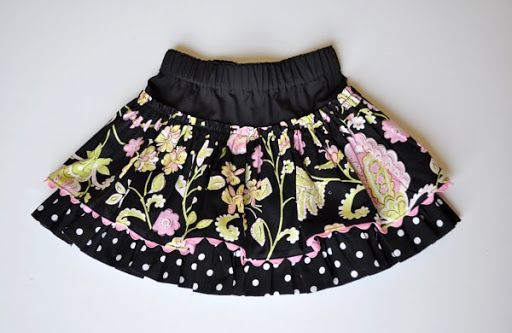 Free layered twirl skirt tutorial and pattern for sizes 2t-4t.