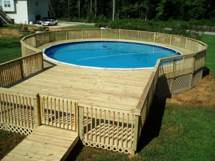 Pool decks enchanting wood deck kits for above ground for Above ground pool gate ideas