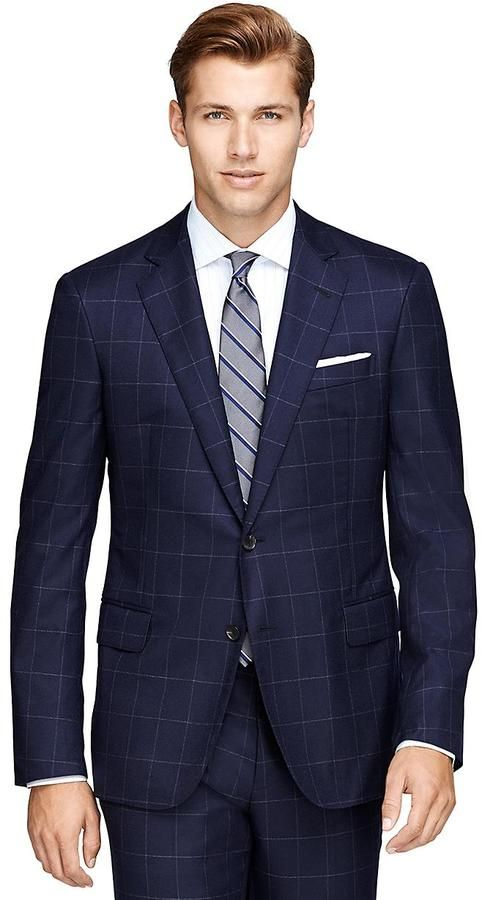 $2,400, Navy Check Suit: Brooks Brothers Regent Fit Three Piece Golden Fleece Windowpane Suit. Sold by Brooks Brothers.