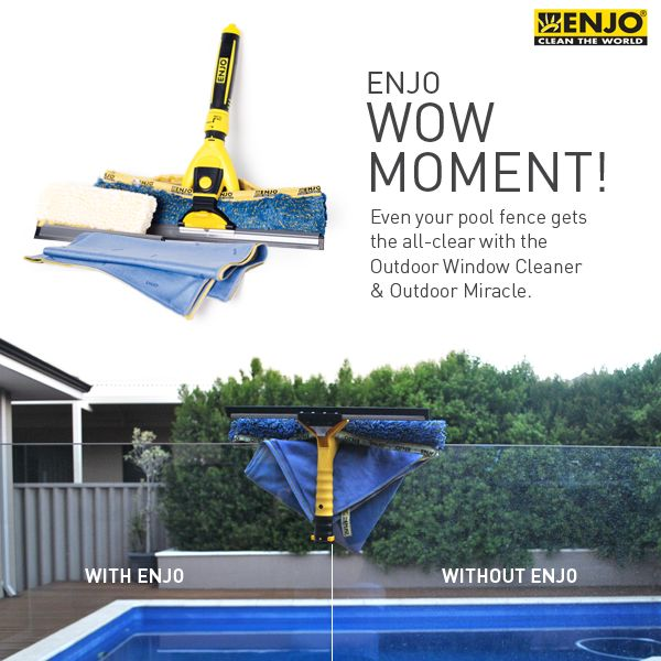 ENJO Outdoor Window Cleaner & Outdoor Miracle were used to clean the glass of a pool fence.