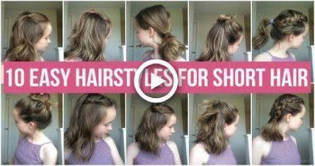 10 COIFFURES FACILES POUR LES CHEVEUX COURTS! COIFFURES RAPIDES ET SIMPLES POUR L'ÉCOLE! # cheveux # coiffures # styles faciles - Coiffure -