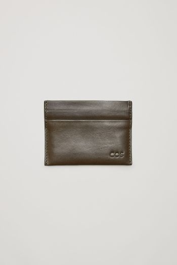 COS Smooth leather cardholder in Dark Brown