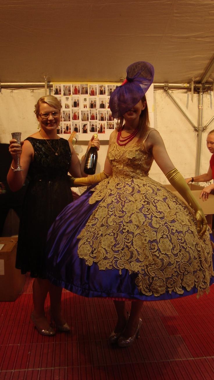Yuliya Kiselyova of Ali McD Modeling agency and Tansy Morris. Yuliya wearing 'Race Day' by Tansy Morris