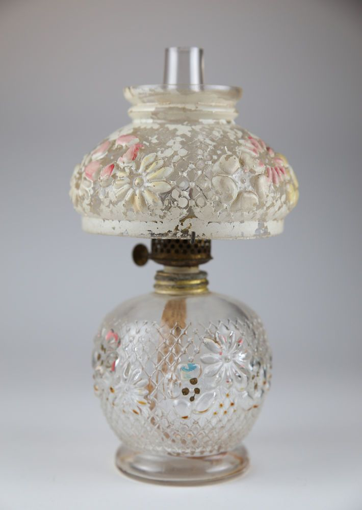 Consolidated Glass Cosmos Oil Lamp Original 1900 Miniature ...