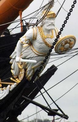HMS Warrior, built in 1860, was one of the last British battleships to carry a figurehead.