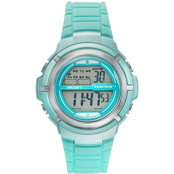 Armitron Women's Sport Digital Chronograph Watch ($24) ❤ liked on Polyvore featuring jewelry, watches, green, chronograph watch, digital watches, sport watches, stainless steel digital watch and armitron watches