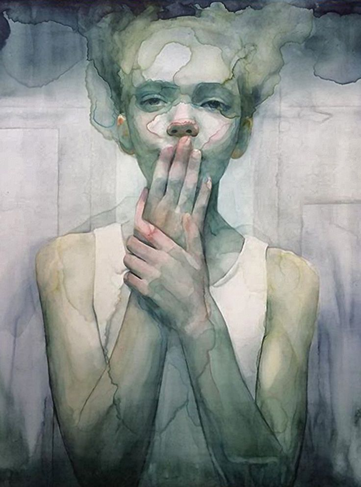 """Steep"" - Ali Cavanaugh, watercolor {figurative realism art beautiful female head hands over mouth young woman face portrait cropped painting} alicavanaugh.com"