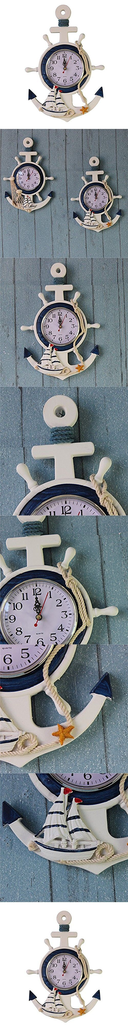 725 best nautical home decor images on pinterest nautical blue winomo anchor clock beach sea theme nautical ship wheel rudder steering wheel wall hanging decoration amipublicfo Images
