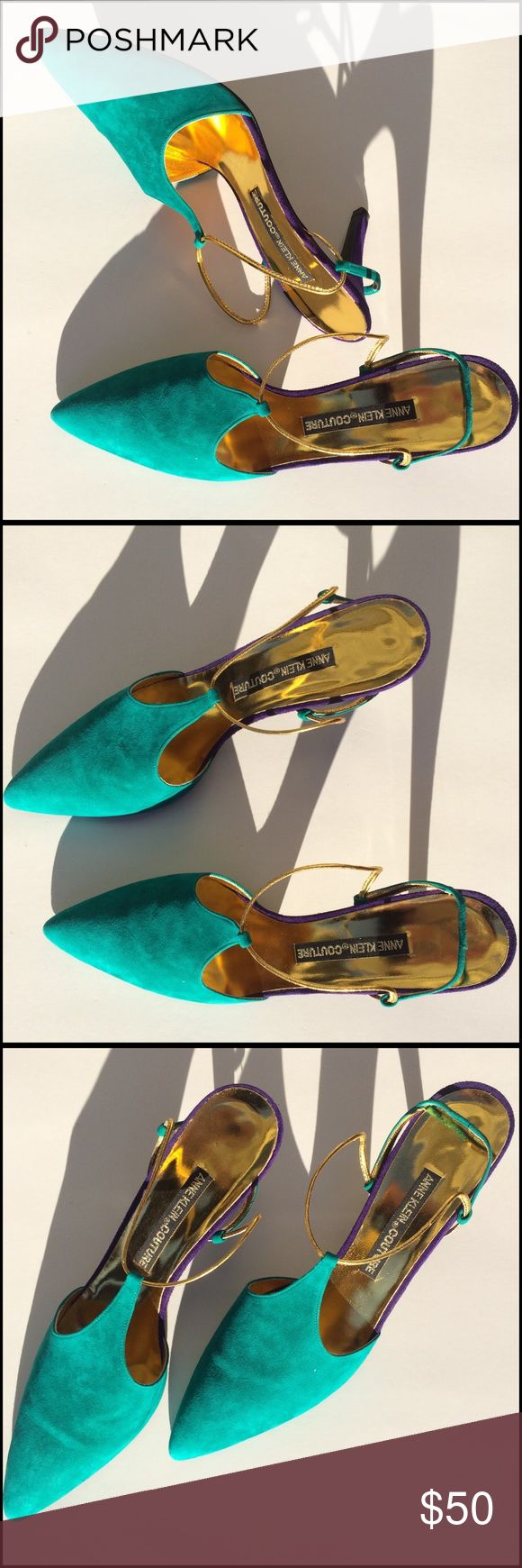 Anne Klein Couture Heels Stunning slingback, teal and purple suede withhold strap and instep, new, never worn , made in Italy, size 8.5 but run small fit like an 8. (C1 Anne Klein Shoes Heels