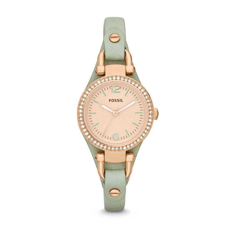 Spring 2014 #Fossil Georgia Mini Three-Hand Leather Watch - Mint