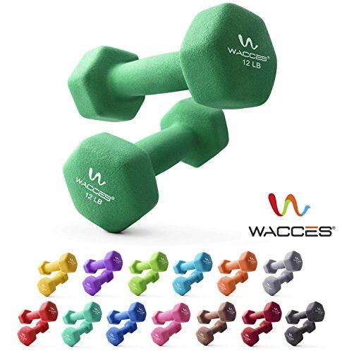 Wacces Neoprene Dipped Coated Set of 2 Dumbbells Hand Weights Sets Non Slip Grip 2 x 12 LB
