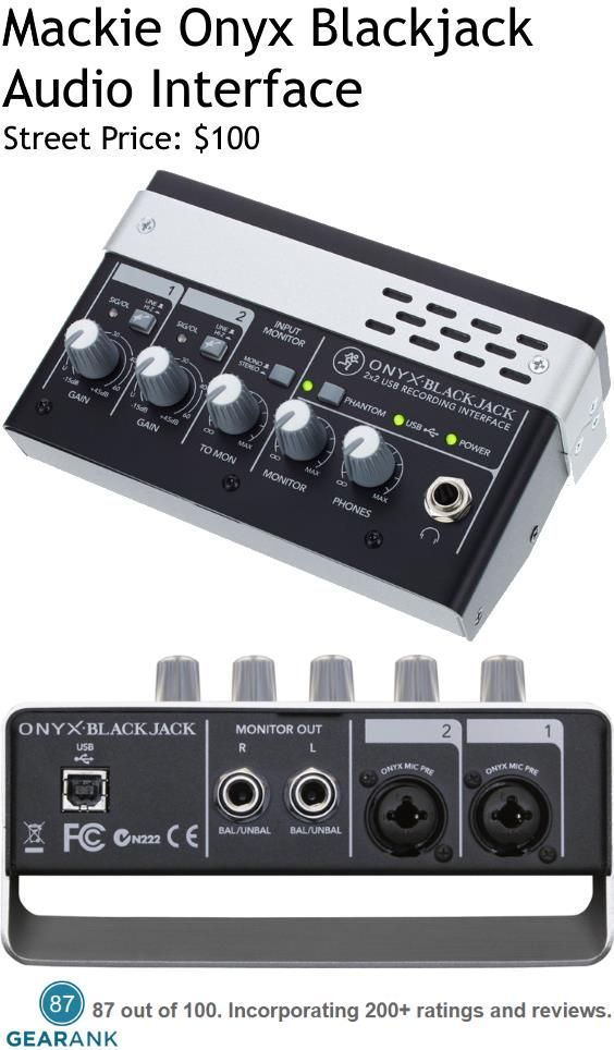Mackie Onyx Blackjack Audio Interface. Features: 2-Channels - A/D resolution up to 24-bit/48kHz - Built-in DI on each input for direct connection of guitars, basses and other instruments - 48V phantom power capable.  For a Detailed Guide to 2-Channel Audio Interfaces see https://www.gearank.com/guides/best-budget-audio-interface-2-channels