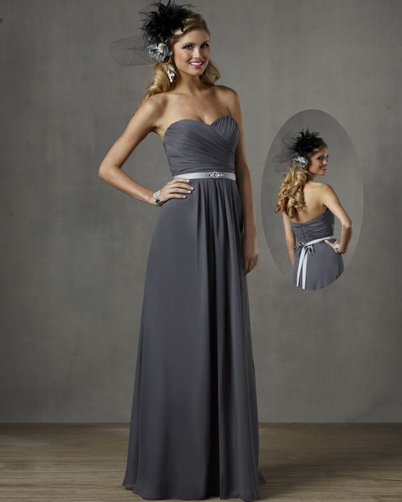 Bridesmaid Dress In Charcoal Gray Color With Dove Gray