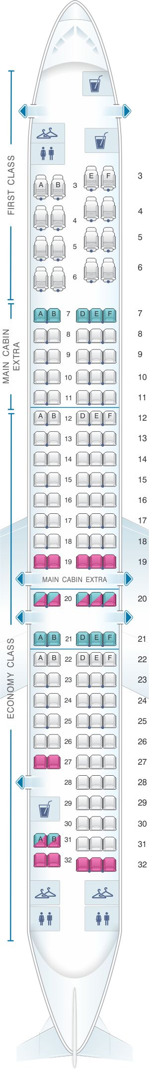 Seat Map American Airlines McDonnell Douglas MD 80