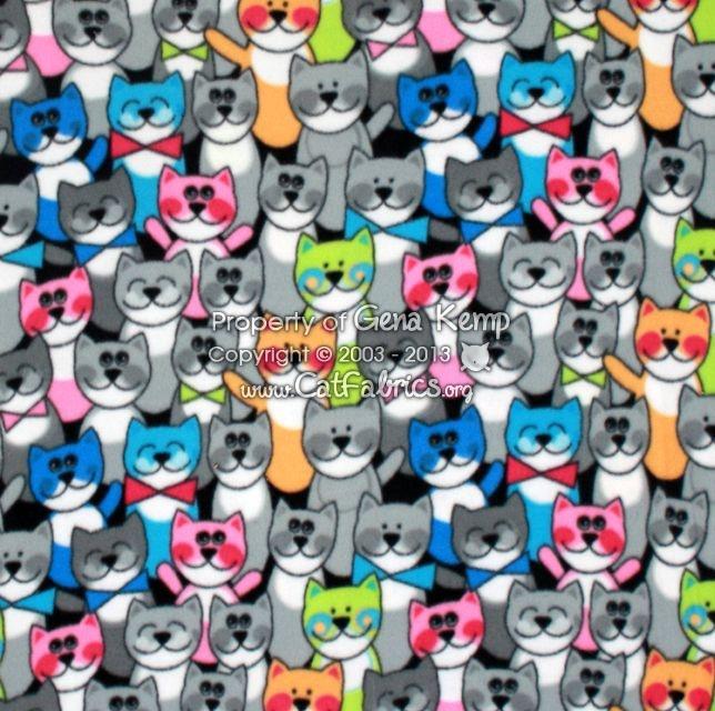 10 50 Cartoon Cats Multi Fleece Cat Fabrics New