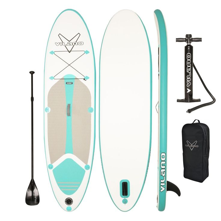 Explore the water on this inflatable stand-up paddle board. This kit includes an air pump to inflate the board, a paddle, and a removable fin that helps you steer the board in windy conditions. Capaci