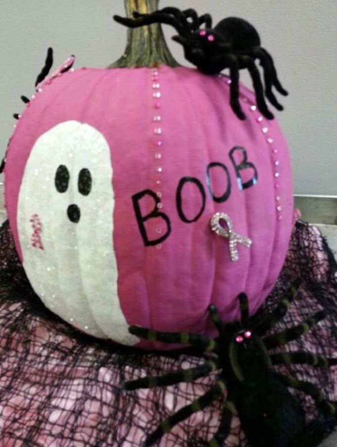 Showing some Halloween support for the fight against breast cancer! These pumpkins are great!