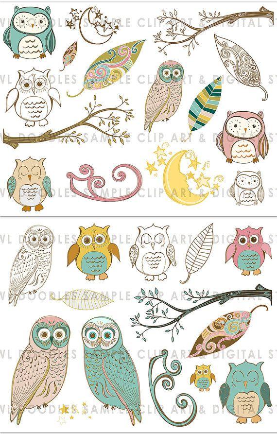 Owl Digital Collage Sheet Whimsical Wispy Woodland Owls