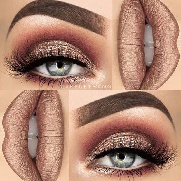 21 Makeup Ideas for Thanksgiving Dinner: #13. GLAM METALLIC; #makeup #beautymakeupforbrowneyes