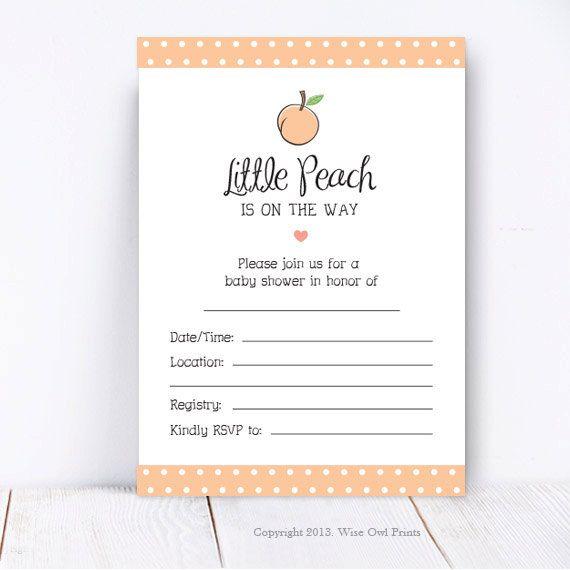 Georgia Peach {Sweet As A Peach} Baby Shower, Fill In Invitation