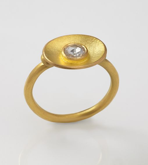 Junction Art Gallery - 22 carat gold ring with dished oval and 4.5mm rose-cut diamond (.21ct) £2,375.00 www.junctionartgallery.co.uk