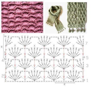 Patrones para Crochet: Patron Crochet Bufanda punto espiga