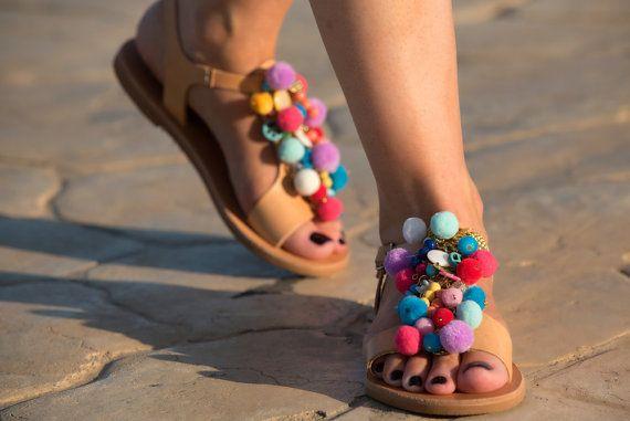 Pom+pom+sandalias+sandalias+Boho+por+PenelopesTemptations+en+Etsy