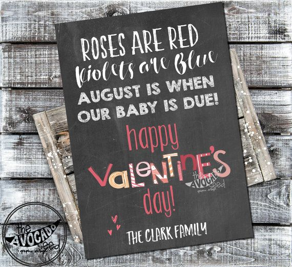 Valentine's Day Doodle Chalkboard (or any color) Pregnancy Expecting Baby Announcement Printable - DIY printing on white cardstock or paper