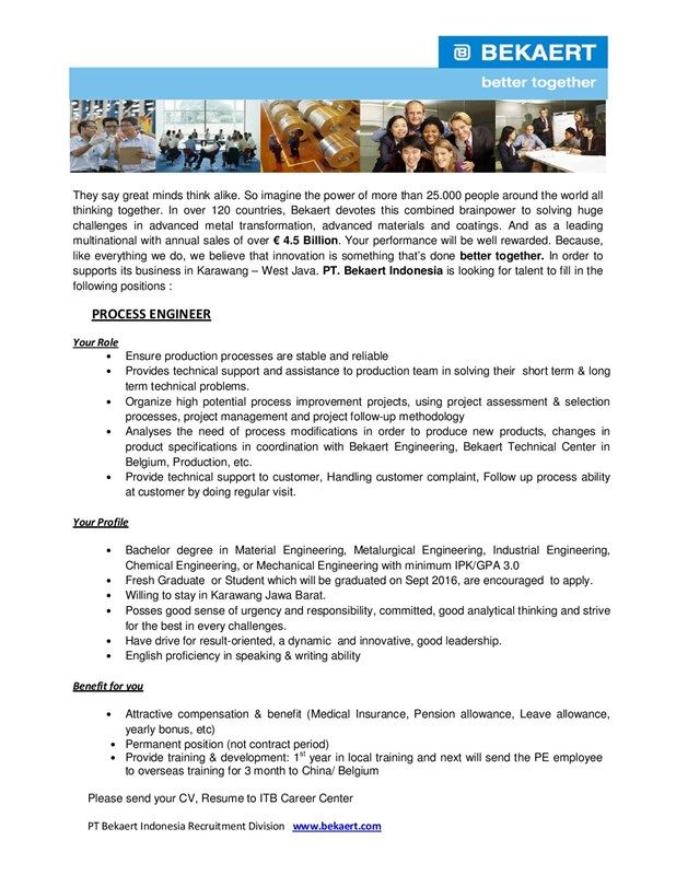WANTED! Process Engineer from Bekaert Indonesia for Fresh Graduate - process engineer resume