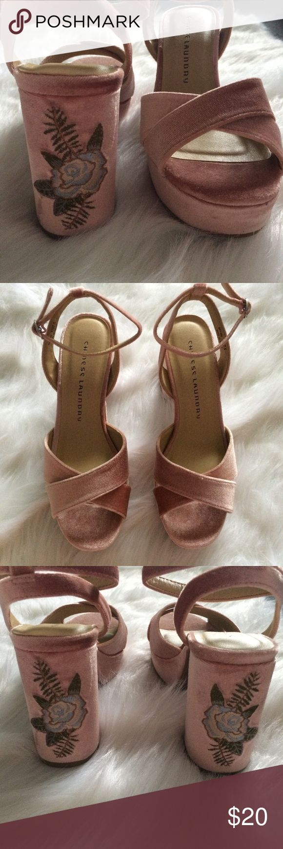 """New Chinese Laundry Velvet Embroidered Heels Gorgeous chunky 4""""in heels in rose pink velvet-like material with flower embroidery  never worn outside of the store but please see photos of rough marks on the heel of show. No box. Chinese Laundry Shoes Heels"""