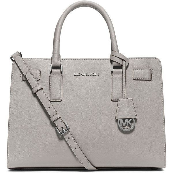 MICHAEL Michael Kors Dillon East-West Saffiano Satchel Bag ($298) ❤ liked on Polyvore featuring bags, handbags, pearl gray, zip zip satchel, michael michael kors, zipper purse, michael michael kors handbags and satchel hand bags