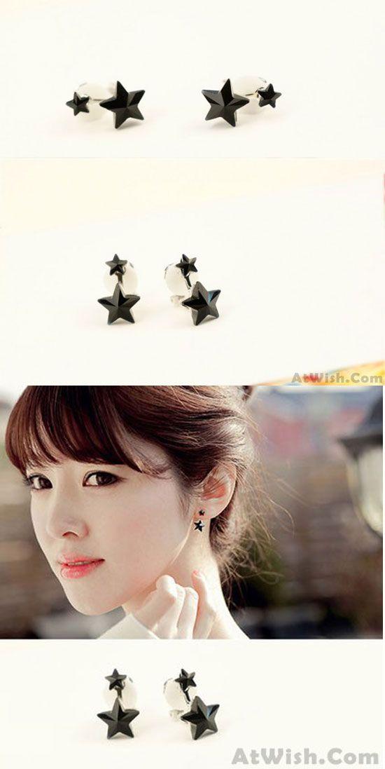 Lovely Black Plexiglass Star 925 Silver Needle Earrings for big sale! #lovely #black #star #silver #earrings