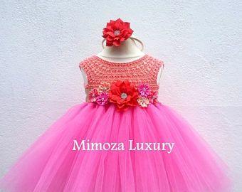 Vestido de cumpleaños Venta, melocotón rosado 1 cumpleaños tutu vestido, vestido de Dama de honor, vestido de la princesa, tul top de ganchillo, vestido de punto, lu de la mano