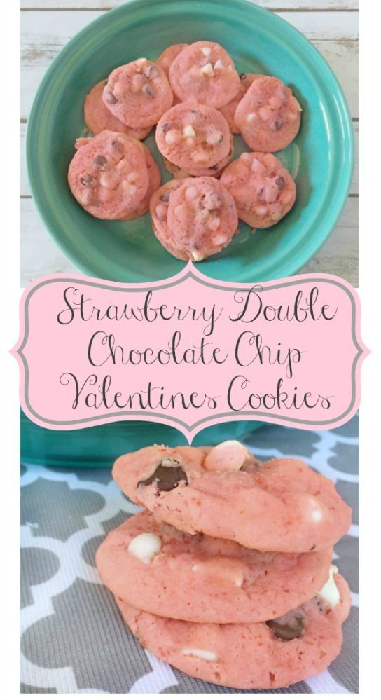 Strawberry Double Chocolate Chip Valentines Cookies - Just a Little Creativity