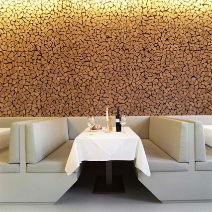 Restaurant with a beautiful wall of chopped wood