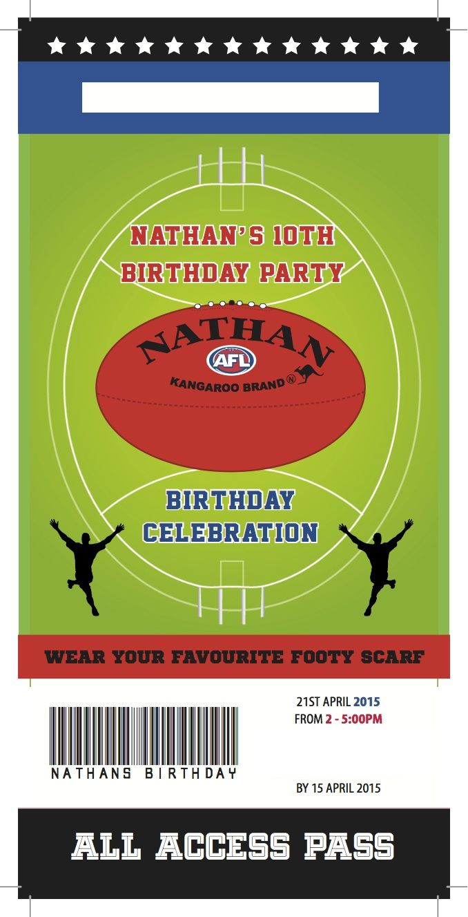31 best footy images on pinterest | football birthday, birthday