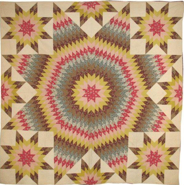 Antique Le Moyne Star Quilt | CHINTZ STAR OF BETHLEHEM with satellite stars