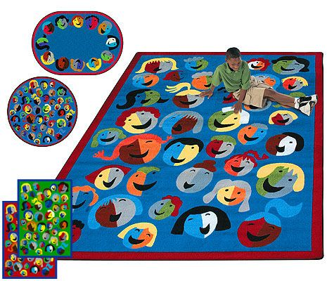 Joyful Faces Rug | Kids Rugs | Educational Rugs | Childrens Rugs  |ClassroomCarpets.com