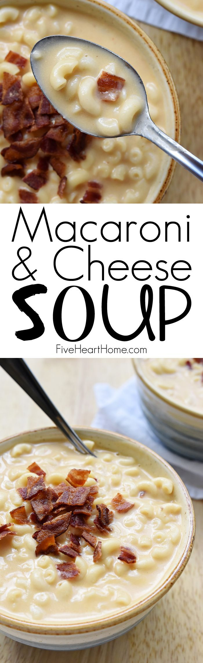 Macaroni & Cheese Soup ~ this creamy, cheesy, decadent recipe is topped with crispy bacon for the ultimate cool weather comfort food! | FiveHeartHome.com