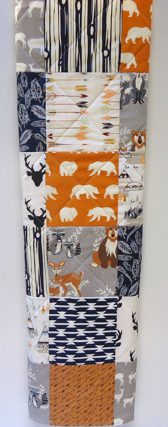 Navy Baby Quilt-Boy-Blue-Orange-Gray-Rustic Tribal-Boy Bedding-TeePee-Woodland Crib Blanket-Aztec-Arrows-Forest Animals-Buck-Bear-Feathers by NowandThenQuilts