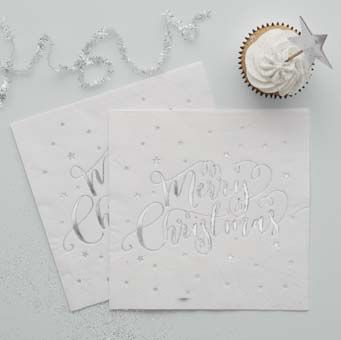 Add a touch of sparkle to your Christmas this year with these beautiful silver foiled 'Merry Christmas' napkins. The perfect way to make your Christmas table more chic!
