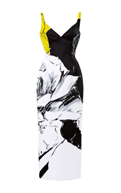 Shop Rose Print Satin Pencil Dress by Prabal Gurung Now Available on Moda Operandi