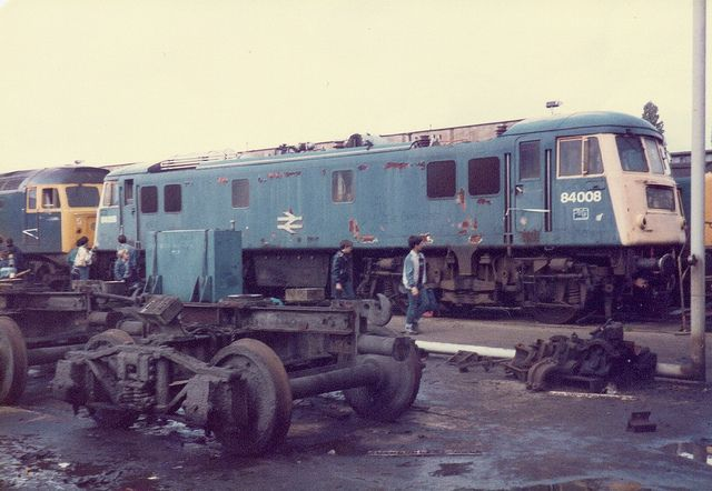 Class 84 84008 awaits its fate at Crewe Works Open Day on the 2nd June 1984 ---- England